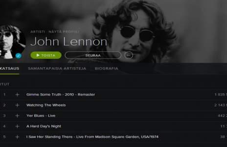 El catálogo musical de John Lennon ya está en Spotify